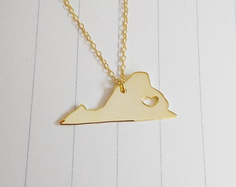 Gold Virginia State Necklace,VA State Necklace,Virginia State Charm Necklace,State Shaped Necklace  With A Heart