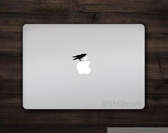 Raven - Mac Apple Logo Cover Laptop Vinyl Decal Sticker Macbook Decal Unique Animal Crow Bird