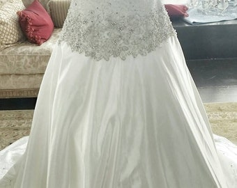 Sweetheart Embroidered Beaded Wedding Dress, Unique Wedding Dress, Beaded Wedding Dress, Satin Wedding Dress, Lace Wedding Dress