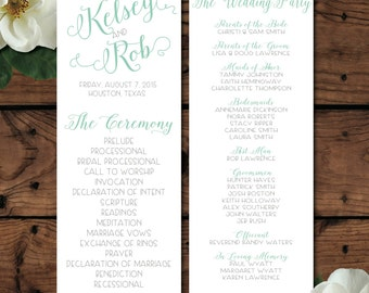 "Wedding Program 3, Double-Sided 4.25"" by 11"""