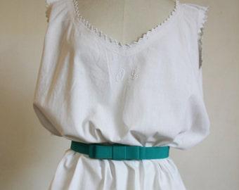60s nightie dress OL monogram embroidery
