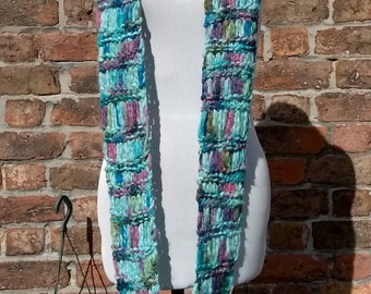 Blue infinity scarf, handmade knitted cowl, blue and purple skinny knit scarf, hippy festival scarf