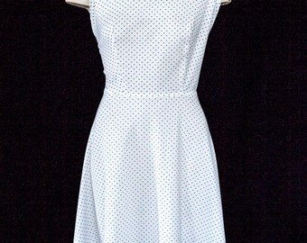 Vintage white dress with blue polka dots