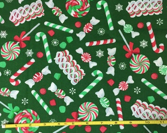 FHO002 Green, Red & White Holiday Candies Cotton Fabric Yard Candy Cane Lollipop Gum Drops Peppermint Spring Cleaning Sale - Final Markdown!