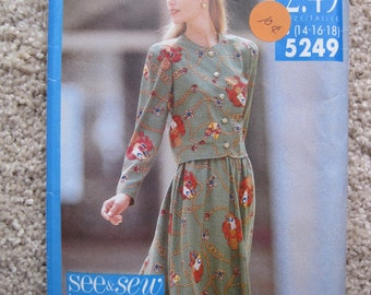 UNCUT Misses Top and Skirt - Butterick Sewing Pattern 5249 - Vintage 1990