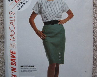 UNCUT Misses Blouse and Skirt - McCalls Pattern 5344 - Vintage 1991