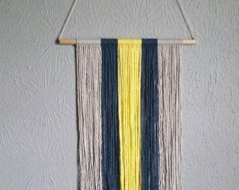 SALE! Modern asymmetrical wall hanging / yarnfall