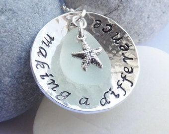 Sterling Silver, Scottish Sea Glass and Starfish Necklace - MAKING A DIFFERENCE