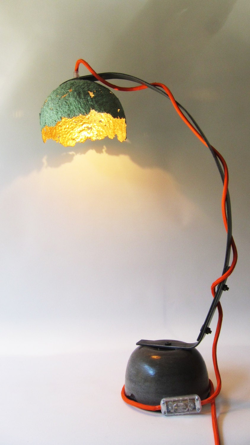 Eggshell desk lamp paper mache iron support and concrete for How to make paper mache lamps