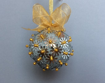 Silver & Gold Sequin Christmas Ornament