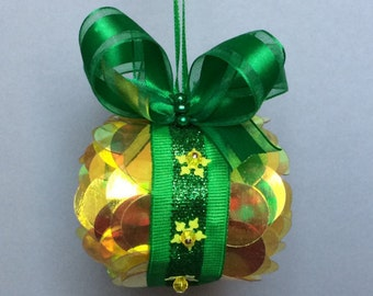 Yellow Overlay Sequin Christmas Ornament
