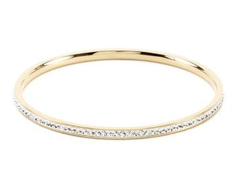 The Crystal Bangle | Gold | 18k Gold Plated 2.5 Inch Bangle with Round Cut Clear Crystals