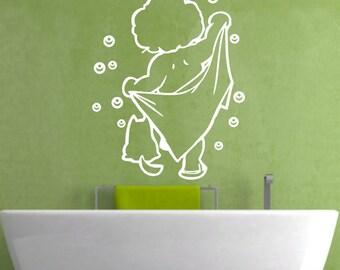Splish Splash Taking a bath Vinyl Bathroom wall Decal, Shower door Decal, Kids Bath