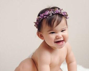 Lilac Floral Crown- Newborn headband, Newborn photography props, Floral Crown