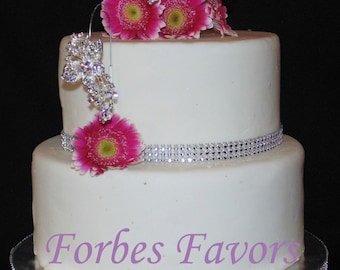 Double Wire with Large Rhinestone Butterfly Cake Insert Cake Bling