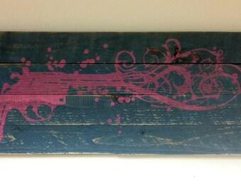 LARGE Gun Painted on Reclaimed Pallet Wood