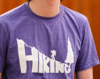 HIKING Hand-Crafted Screen-Printed T-Shirt in Heather Purple & White