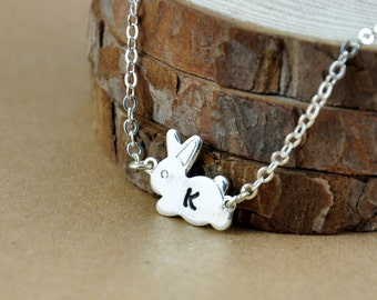 Tiny Silver Bunny Necklace, Hand Stamped initial Necklace, Cute Little Bunny, Holiday Necklace, Bridesmaid necklace, Birthday Present