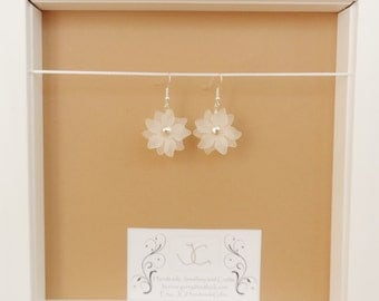 Silver Plated Earrings With White Frosted Acrylic Flowers & Lemon Quartzite