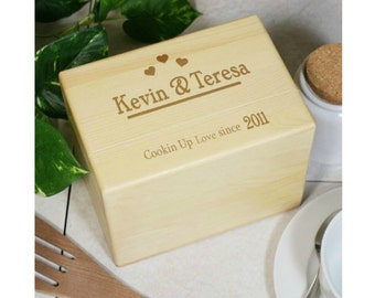 Engraved Cookin Up Love Oak Recipe Box