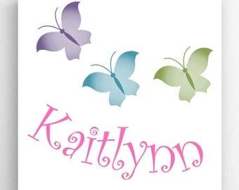 Personalized Butterfly Canvas Print , Child's Name Canvas, Child's Name Print