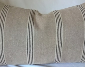 "Ralph Lauren 'Basque Vintage Ticking' Custom Pillow 14""x24"" Belgian Linen! Custom Pillow  Decorative Pillow Throw Pillow"