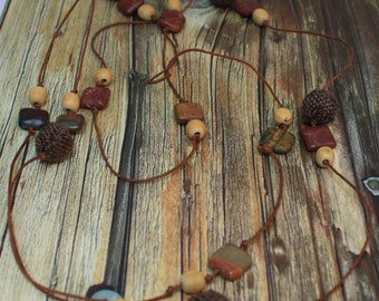 Fashion Picasso Jasper, Wood and Textile Necklace