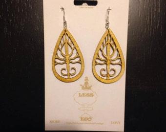 Laser cut wood, laser cut earrings,  tear drop dangle earrings