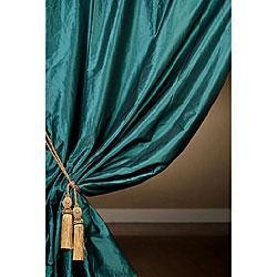 Teal Blue Silk Curtain Dupioni Silk Window By