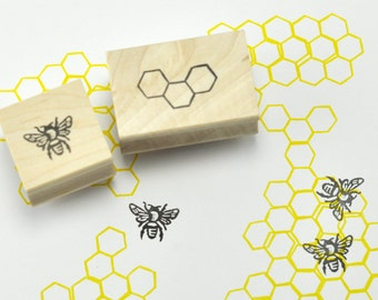Bee and Honeycomb Stamp Set of Two, Hand carved rubber stamp