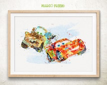 Lightning McQueen & Mater Watercolor Art Print Poster - Home Decor - Watercolor Painting - Wall decor - Gift - Kids Deco - Nursery - 138