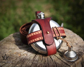 Flask holster in leather for belt