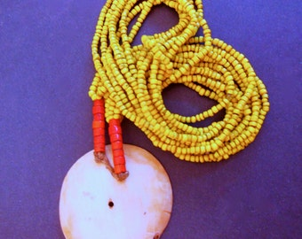 SALE...Naga Tribal Yellow Glass Bead Necklace/Conch Shell Pendant Ethnic Jewelry