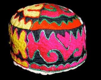 SALE#..Uzbek Tribal Duppi Hat/Cap Hand Embroidered Ethnic Decor, Costume Asia