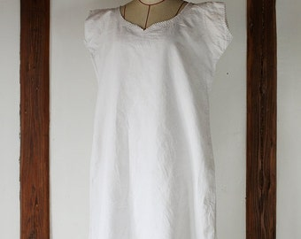 French antique linen dress/France/1900's/homespun linen/short sleeves/Initials YR