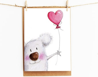 greeting card - koala - girl gift card - 106 x145mm