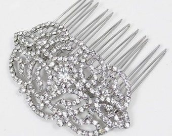 Vintage inspired bridal hair comb -  Bridal Flower Hair Comb  - Clear Austrian Crystal Hair Comb
