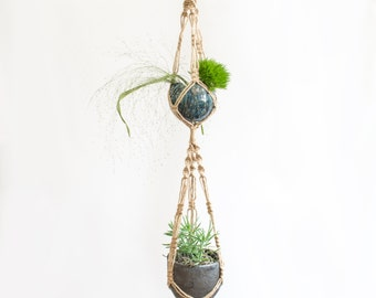 Double Macrame Plant Hanger / 35 Inch / Twine / Home decor