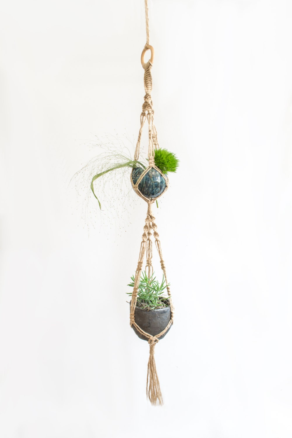 etsy macrame plant hangers macrame plant hanger 35 inch twine home decor 1962