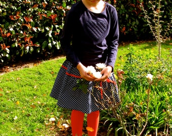 spotty 2 tiered gathered skirt, 100% with ribbon trim