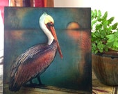 "Pelican Art 2--Wood Mounted Archival Print of Original Mixed Media Art; Hand-Painted Details and Finish--""Pelican Sunset""--Pam Kapchinske"
