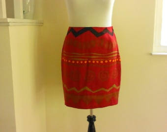 90s Tribal Print Linen Skirt, Red, Size L, Linda Allard Ellen Tracy Native American Inspired Clothing, Career Wear, Designer Skirt, Abstract