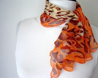 Women scarf, Orange scarf, Silky scarf, Animal print scarf, Fashion scarf, Womens scarf, Summer scarf, Festival shawl, Scarf for Women
