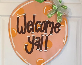 Door Hanger - Wood Cut Out - Peach. This adorable Peach can be changed to better meet your style!