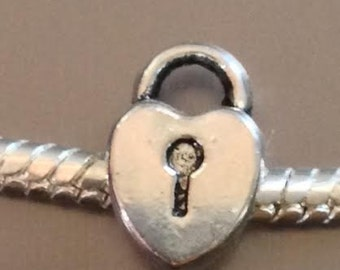 Key Heart European Charm for all European Charm Bracelets