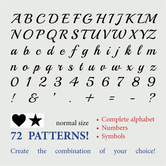 Alphabet calligraphy normal size numbers symbols by ipapers