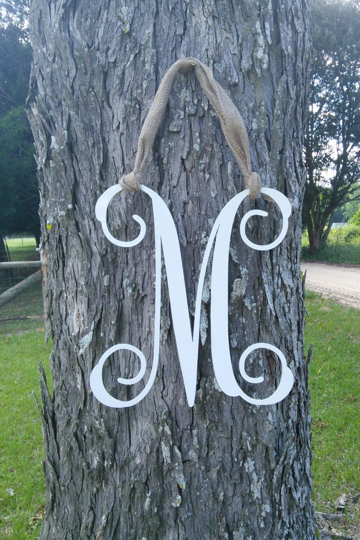 Decorative metal letter initial front door wreath with burlap for Metal letters for front door