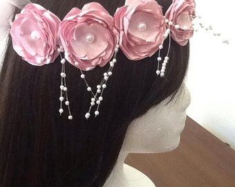blush pink flower girl headpiece, bridesmaid, communion, wedding handmade satin flower headpiece
