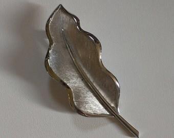 Vintage Trifari Silver-Toned Leaf Brooch Pin Signed