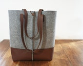 FREE SHIPPING LIMITED days,Leather tote bag, handmade bag,felt bag,felt & leather shoulder bag, , tote, large tote bag, felt tote bag